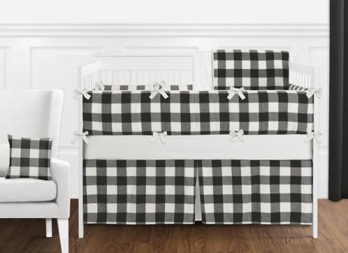 Black and White Buffalo Check 9 Piece Crib Bedding Collection