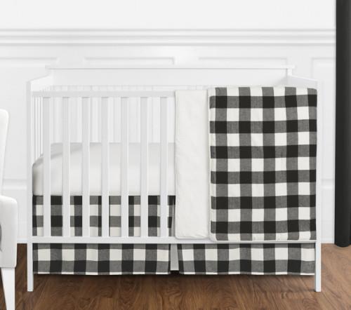 Buffalo Check Black and White 4 Piece Bumperless Crib Bedding
