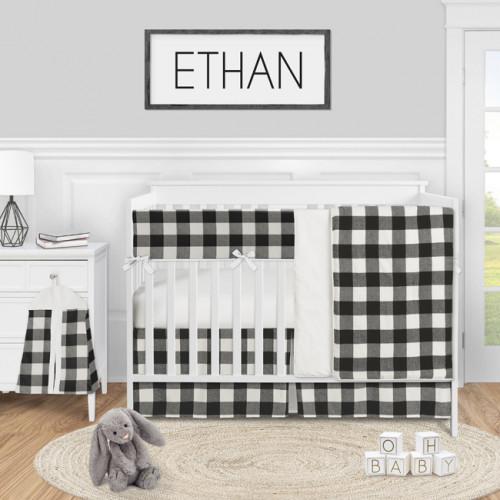 Buffalo Check Black and White 5 Piece Crib Bedding