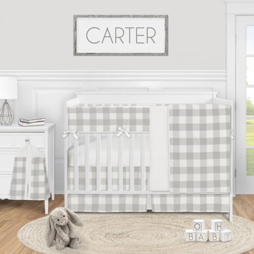 Buffalo Check Grey and White 5 Piece Crib Bedding