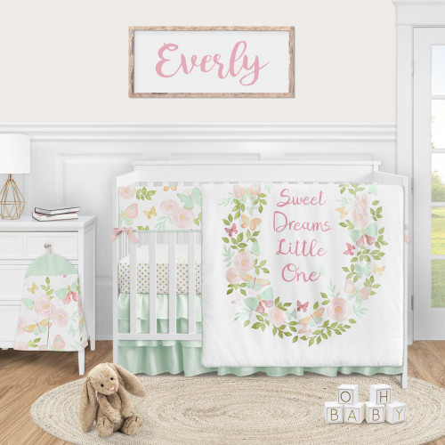 Butterfly Floral Collection 5 Piece Crib Bedding