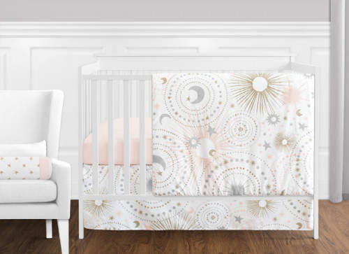 Celestial Pink and Gold 11 Piece Bumperless Crib Bedding Collection
