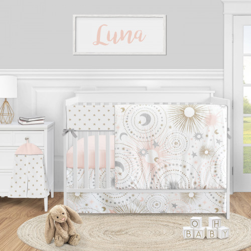 Celestial Pink and Gold Collection 5 Piece Crib Bedding