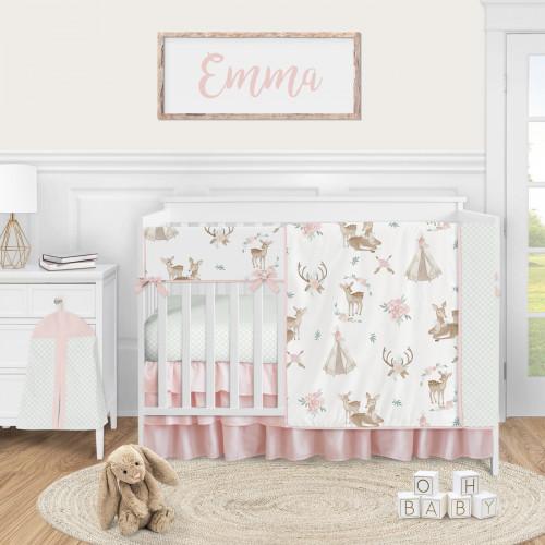 Deer Floral Collection 5 Piece Crib Bedding