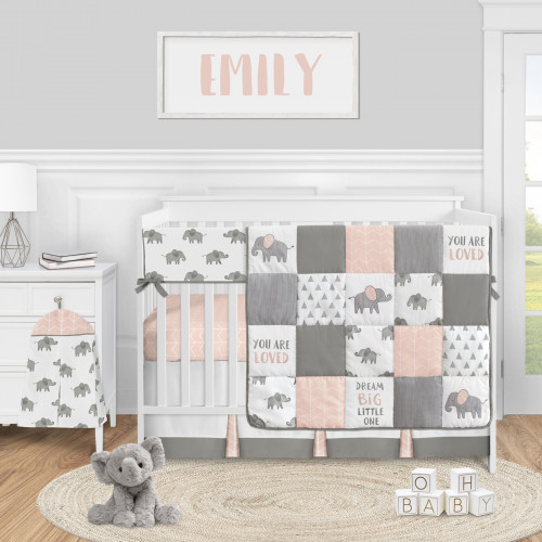 Elephant Grey and Blush Pink Collection 5 Piece Crib Bedding