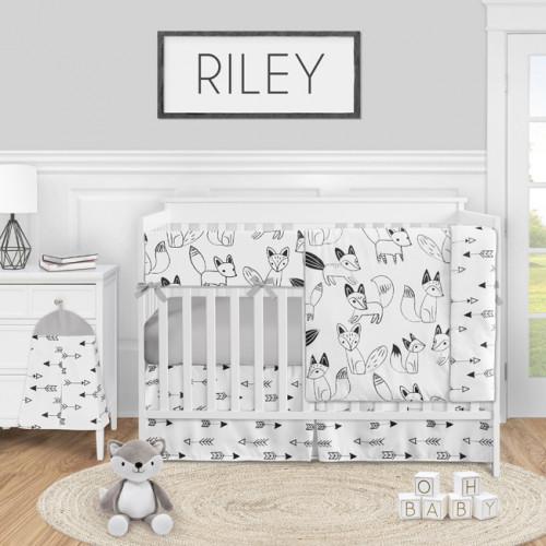 Fox Black and White Collection 5 Piece Crib Bedding