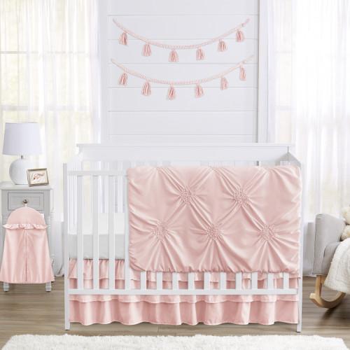 Harper Blush Pink Collection 4 Piece Crib Bedding