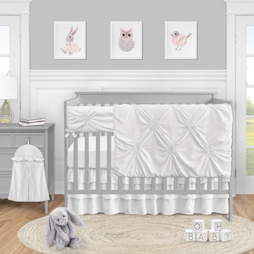 Harper White Collection 5 Piece Crib Bedding