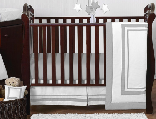 Hotel White and Gray 11 Piece Bumperless Crib Bedding Collection