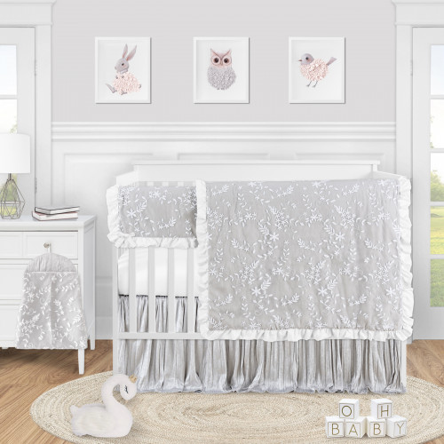 Lace Grey Collection 5 Piece Crib Bedding