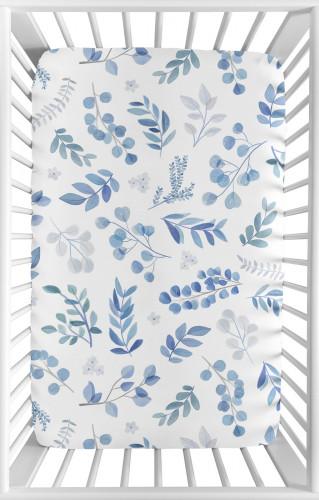 Botanical Blue Collection Mini Crib Sheet
