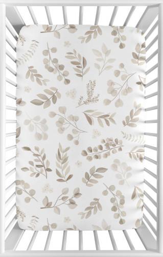 Botanical Taupe Collection Mini Crib Sheet