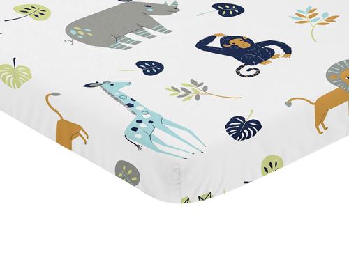 Mod Jungle Collection Mini Crib Sheet - Safari Animal Print