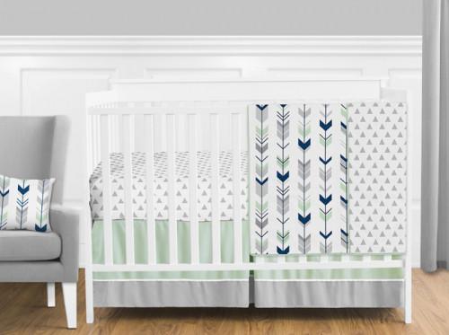 Mod Arrow Grey, Navy and Mint 11 Piece Bumperless Crib Bedding Collection