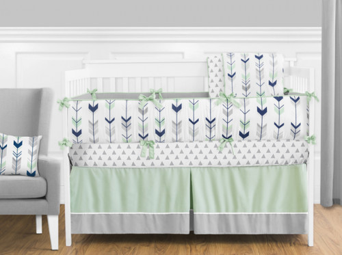 Grey, Navy and Mint Mod Arrow 9 Piece Crib Bedding Collection