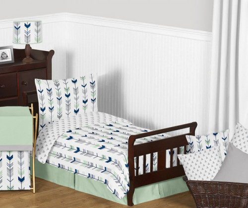 Mod Arrow Grey, Navy and Mint Toddler Bedding Collection