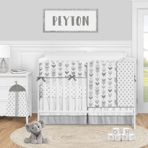 Mod Arrow Grey and White Collection 5 Piece Crib Bedding
