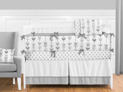 Grey and White Mod Arrow 9 Piece Crib Bedding Collection