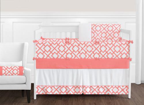 Coral and White Mod Diamond 9 Piece Crib Bedding Collection