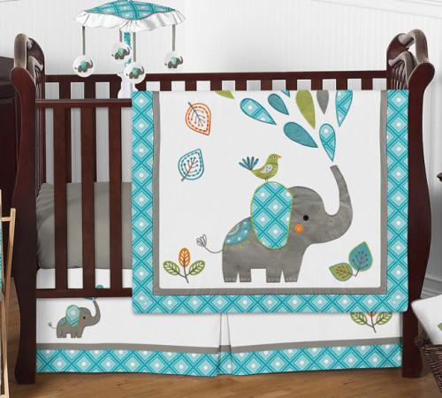 Mod Elephant Collection 4 Piece Crib Bedding