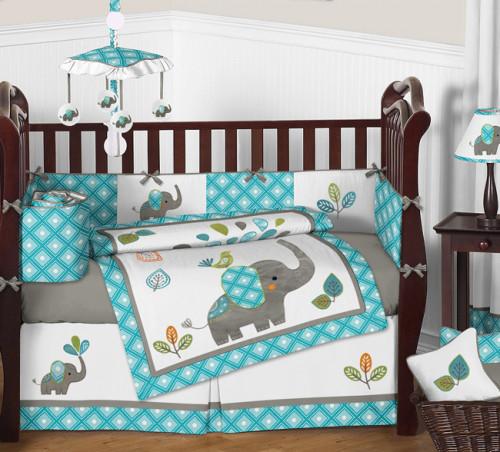 Mod Elephant 9 Piece Crib Bedding Collection