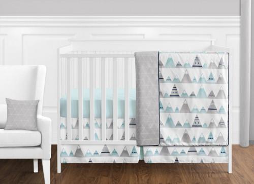 Mountains Grey and Aqua 11 Piece Bumperless Crib Bedding Collection
