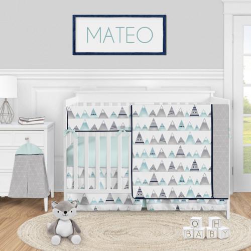 Mountains Grey and Aqua Collection 5 Piece Crib Bedding