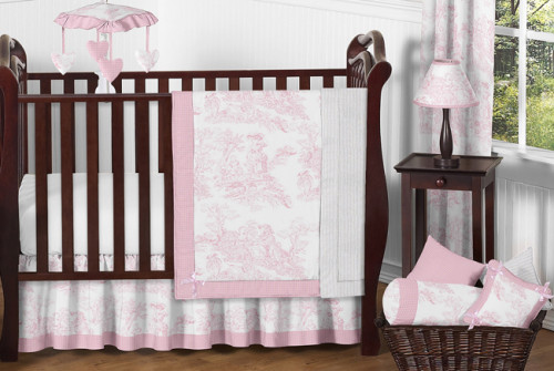 Pink Toile 11 Piece Bumperless Crib Bedding Collection