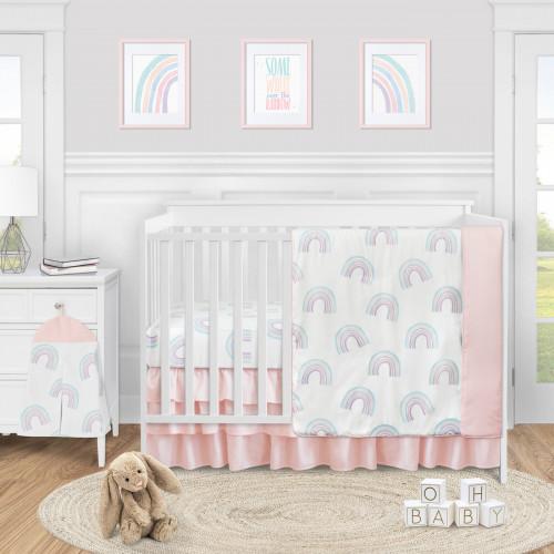 Rainbow Collection 4 Piece Bumperless Crib Bedding