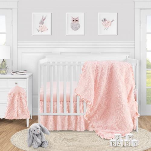 Rose Pink Collection 4 Piece Crib Bedding