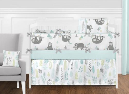 Aqua and Grey Sloth 9 Piece Crib Bedding Collection