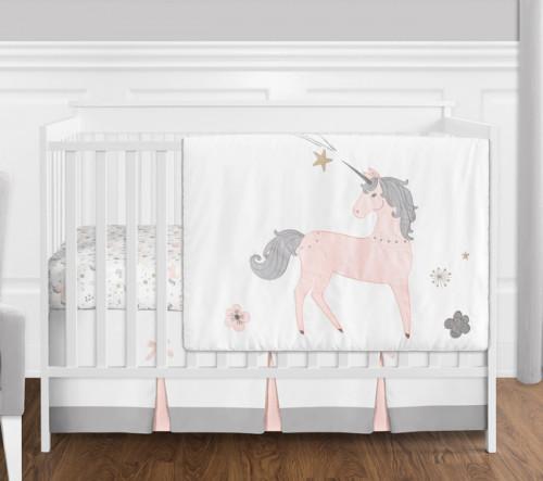 Unicorn 4 Piece Bumperless Crib Bedding Collection