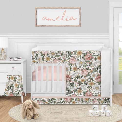 Vintage Floral Collection 5 Piece Crib Bedding