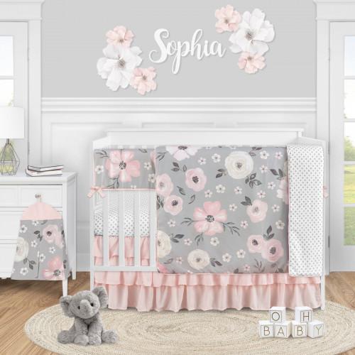 Watercolor Floral Grey Collection 5 Piece Crib Bedding