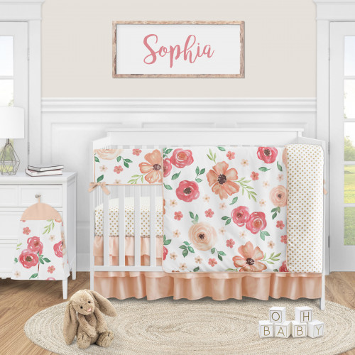Watercolor Floral Peach and Green Collection 5 Piece Crib Bedding