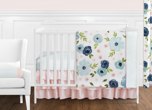 Watercolor Floral Navy Blue and Pink Collection 11 Piece Bumperless Crib Bedding