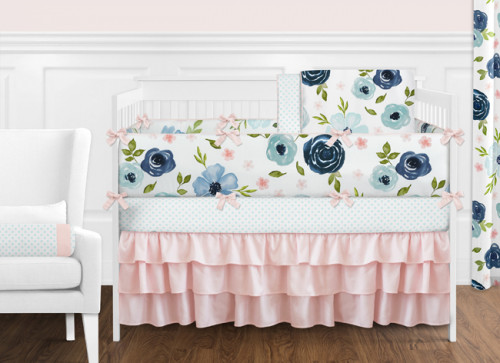 Navy Blue and Pink Watercolor Floral 9 Piece Crib Bedding Collection