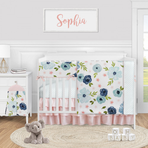 Watercolor Floral Navy Blue and Pink Collection 5 Piece Crib Bedding