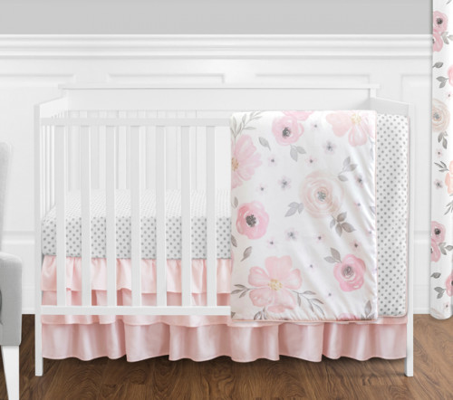 Watercolor Floral Pink and Grey 4 Piece Bumperless Crib Bedding Collection