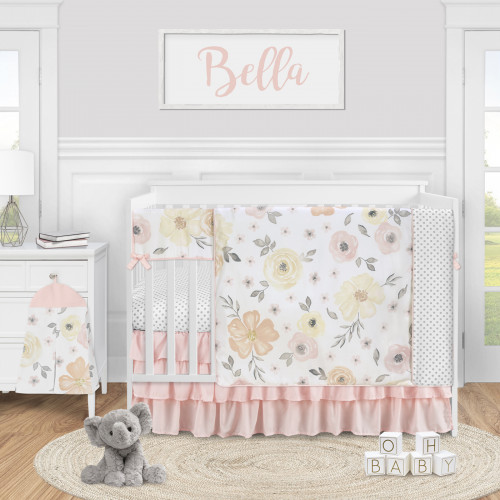 Watercolor Floral Yellow And Pink Collection 5 Piece Crib Bedding