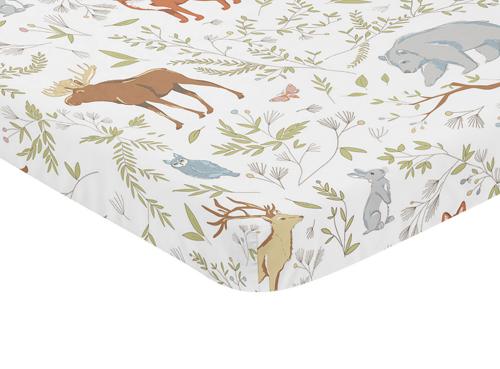 Woodland Toile Collection Mini Crib Sheet - Animal Print
