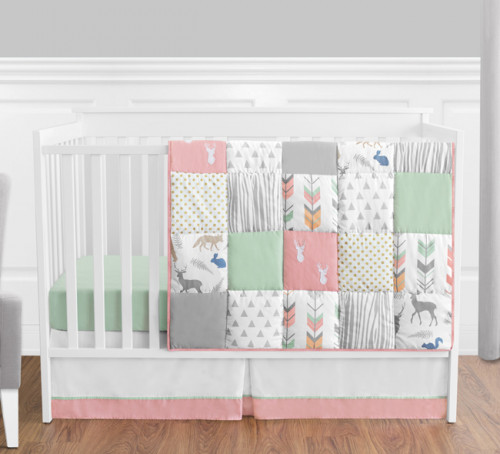 Woodsy Coral, Mint and Grey 4 Piece Bumperless Crib Bedding Collection