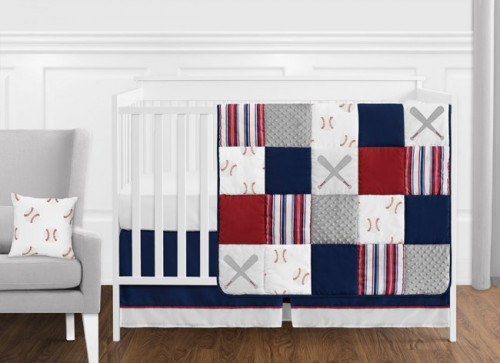 Baseball Patch Collection 11 Piece Bumperless Crib Bedding