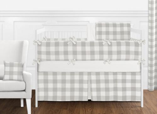 Gray and White Buffalo Check 9 Piece Crib Bedding Collection