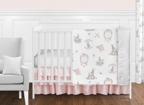 Bunny Floral Collection 11 Piece Bumperless Crib Bedding