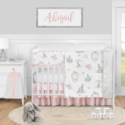 Bunny Floral Collection 5 Piece Crib Bedding