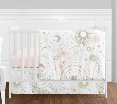 Celestial Pink and Gold 4 Piece Bumperless Crib Bedding Collection