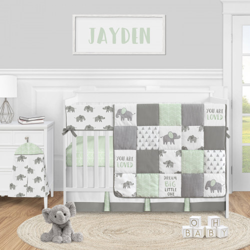 Elephant Grey and Mint Collection 5 Piece Crib Bedding