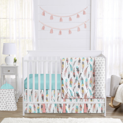 Feather Turquoise and Coral 4 Piece Bumperless Crib Bedding Collection
