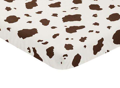 Wild West Collection Mini Crib Sheet - Cow Print